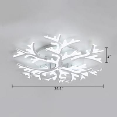 Modernism Branch LED Ceiling Fixture Metallic Multi Lights Semi Flush Light for Coffee Shop