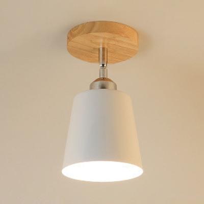 Modernism Tapered Semi Flushmount Rotatable Metallic 1 Bulb Ceiling Lamp in Chrome Finish