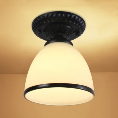 Opal Glass Tapered Ceiling Fixture with Black Band Minimalist 1 Light Mini Ceiling Flush Mount for Staircase