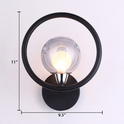 Smoke Glass Globe Wall Lamp with Halo Ring Modern Chic 1 Head Sconce Light in Black for Bedroom