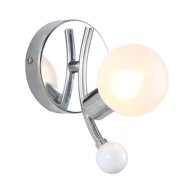Spherical Glass Shade Wall Light with White Ball Decoration Modernism 1 Lights Sconce Light in Chrome