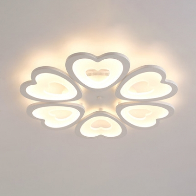 White Loving Heart Ceiling Light Contemporary Acrylic 4/6 Heads LED Semi Flush Light for Bedroom