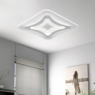 White Ultrathin Square Flushmount Modern Fashion Metallic Energy Saving LED Flush Light