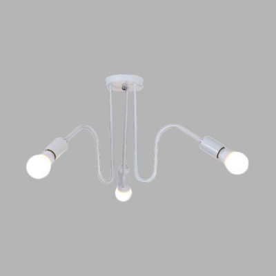 3/5 Lights Open Bulb Ceiling Lamp with White Curved Arm Contemporary Metal Surface Mount Ceiling Light