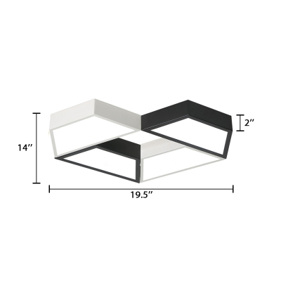 4 Trapezoid Flush Light Contemporary Acrylic LED Flush Mount in Black and White for Bedroom