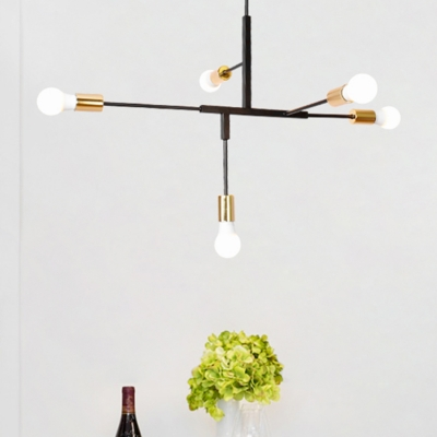 5 Heads Linear Suspended Light With Bare Bulb Modern Simple Metallic Chandelier In Br