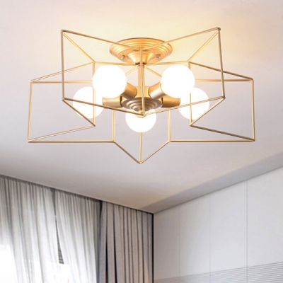 5 Lights Star Ceiling Light With Colorful Wire Guard Modern Chic