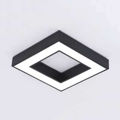Acrylic LED Ceiling Fixture with Black Square Shade Concise Flushmount for Corridor