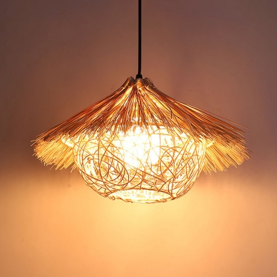 Asian Style Bowl Shade Suspension Rattan 1 Head Hanging Ceiling Lamp in Wood for Restaurant