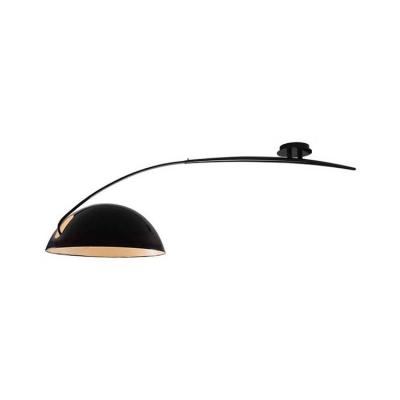 Black Arched Semi Flush Light Minimalist Modernism Metal Single Light Indoor Lighting Fixture