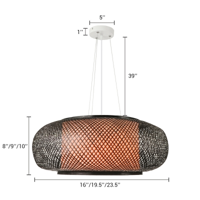 Black Global Hanging Lamp Modernism Weave Single Light Pendant Lamp for Restaurant Bedroom