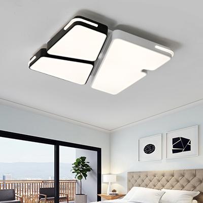 Contemporary Polygon Flush Mount Light Metallic Led Indoor Lighting