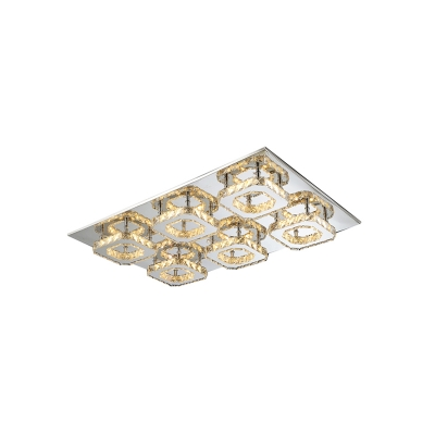 Crystal Semi Flush Light Fixture Contemporary Luxury Stainless LED Indoor Lighting Fixture in Amber