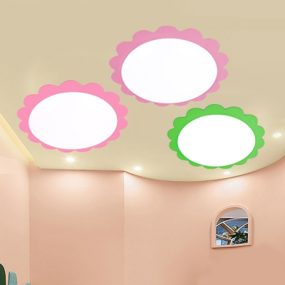 Green/Pink Flower Design Ceiling Lamp Acrylic LED Ceiling Flush Mount for Amusement Park
