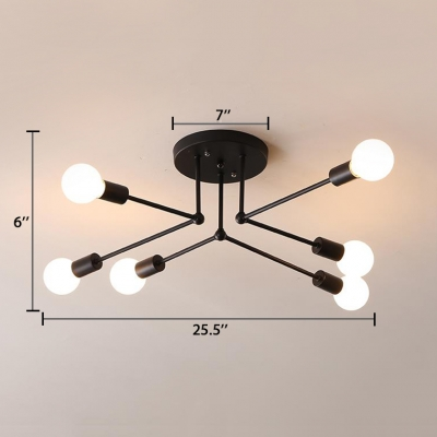 Industrial Concise Linear Semi Flush Light Metal 6/8 Lights Ceiling Light in Matte Black
