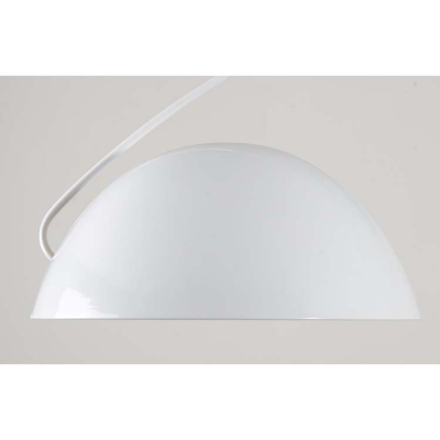 Metallic Arched Semi Flushmount with Dome Shade Simple Concise 1 Light Ceiling Fixture in White