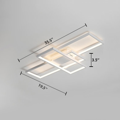 Modernism Rectangular Flush Mount Light Metallic LED Ceiling Fixture in White for Restaurant