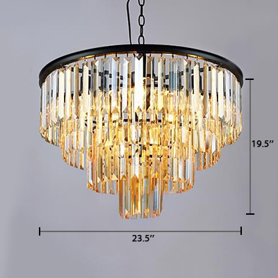 Multi-Layer Fountain Suspended Light Luxury Vintage Clear Crystal 9 Lights Chandelier Lamp in Black