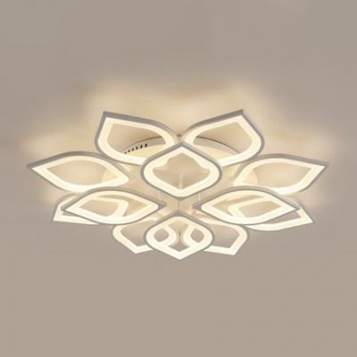 Multi Light Petal LED Ceiling Lamp Minimalist Acrylic Shade Decorative Semi Flush Mount Light in White