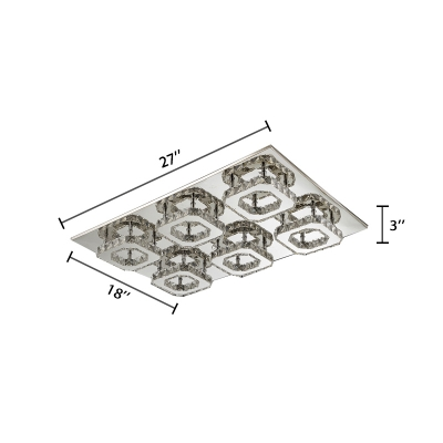 Multi Square LED Ceiling Lamp Modernism Stainless Semi Flush Mount Lighting with Amber Crystal