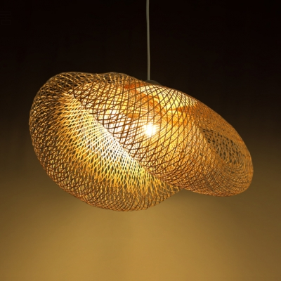 Rattan Hat Shape Hanging Ceiling Lamp Asian Style 1 Light Decorative Suspension in Wood