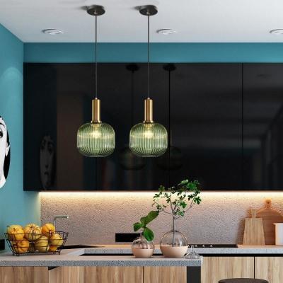 Ribbed Glass Geometric Hanging Light Simplicity Single Light Ceiling Pendant Light in Brass Finish