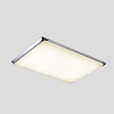 Silver Ultra Thin Ceiling Fixture with Rectangle Shade Modern Design Acrylic LED Flush Mount