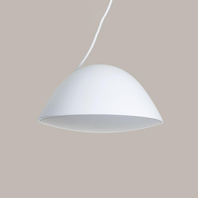Single Head Domed Pendant Light Minimalist Metal Hanging Ceiling Lamp in White for Bedroom