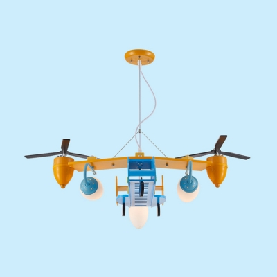 Toy Airplane 3 Lights Hanging Light with Frosted Glass Shade Blue Finish Suspension Light for Kindergarten
