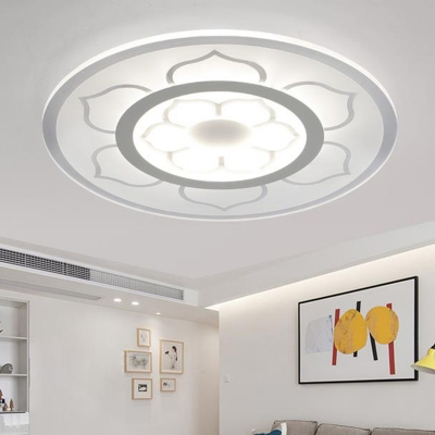 White Round Disc LED Ceiling Lamp with Flower Pattern Contemporary Acrylic Flush Mount