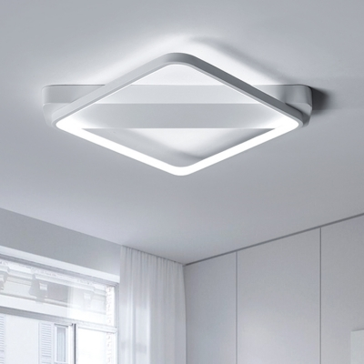 White Square Ceiling Light Nordic Style Metal Surface Mount Led Lights