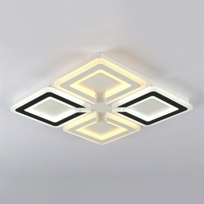 Acrylic Shade Ultrathin LED Flushmount Modern Fashion Ceiling Fixture in Black and White for Bedroom