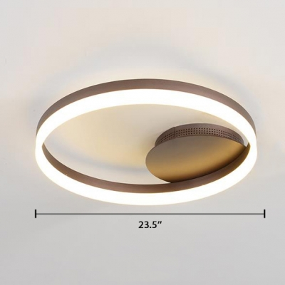 Acrylic Single Ring Flush Light Simplicity LED Ceiling Fixture in Brown for Coffee Shop