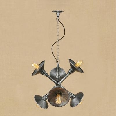 Antique Silver Flared Chandelier Industrial Vintage Metal 6 Heads Indoor Lighting Fixture