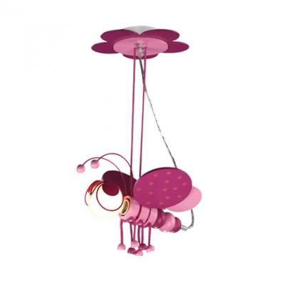 Blue/Pink Bee Suspended Light Glass Shade 1 Bulb Pendant Lamp for Kindergarten