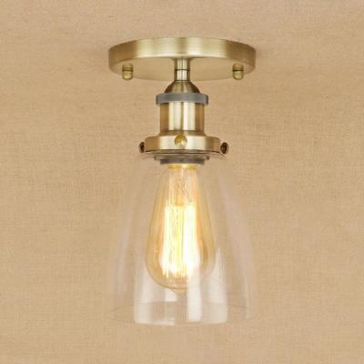 Clear Glass Cone Semi Flushmount Traditional Simple 1 Bulb Mini Lighting Fixture for Coffee Shop