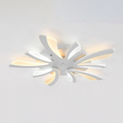 Dandelion Style Semi Flush Light with Round Metal Canopy Modernism 3/5 Lights LED Ceiling Lamp in White