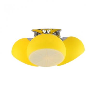 Dome 3 Lights Ceiling Light with Yellow Lemon Design Glass Shade Semi Flush Mount Lighting for Children