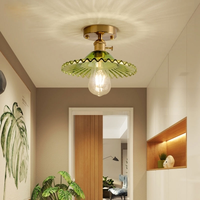 Industrial Scalloped Semi Flush Light Fixture with Peridot Green Glass Shade 1 Bulb Ceiling Fixture for Kitchen
