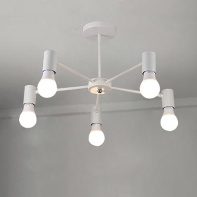 Metal Branch Style Hanging Light Fixture Minimalist 5 Bulbs Decorative