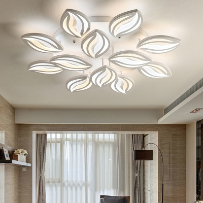 Modernism 2 Tiers Petal Ceiling Lamp Acrylic Multi Lights LED Ceiling Flush Mount in White
