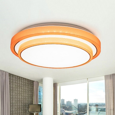 Modernism 2 Tiers Round Flushmount Acrylic LED Flush Light Fixture in Blue/Orange/Pink/Purple