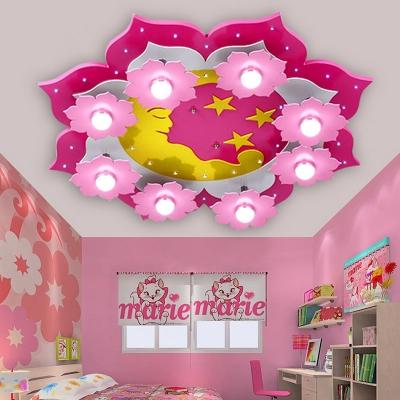 Pink Floral Flush Light Fixture Modern Design Wood 8 Lights Ceiling Light for Girls Bedroom