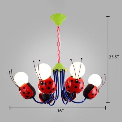 Red Ladybug Suspended Light Metal 4/6 Lights Chandelier Lamp for Kindergarten