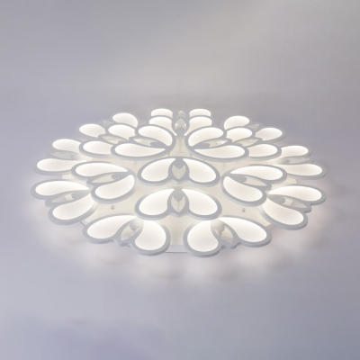 2/3 Tiers Floral Semi Flush Light Modern Chic Acrylic Multi Light LED Ceiling Fixture in Warm/White/Neutral