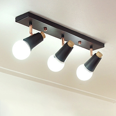 3 Lights Rotatable Arm Ceiling Fixture Modernism Metal Semi Flush Light Fixture in Black for Sitting Room HL504555 фото