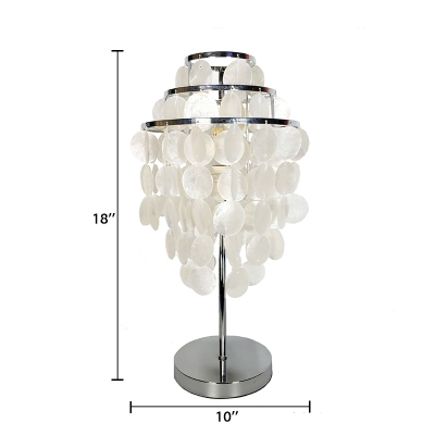 3 Tiers Standing Table Light Contemporary Shelly 1 Light Table Lamp in Chrome for Bedside