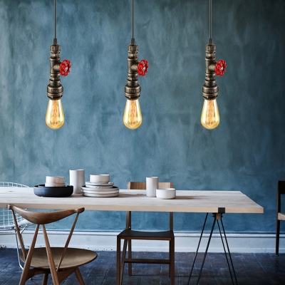 Antique Bronze Valve Pendant Light Industrial Single Light Hanging Pendant Fixture