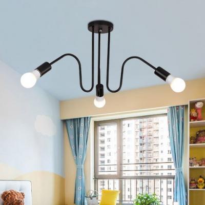 Black Finish Curved Semi Flushmount Minimalist Metallic 3/5 Lights Indoor Lighting for Living Room