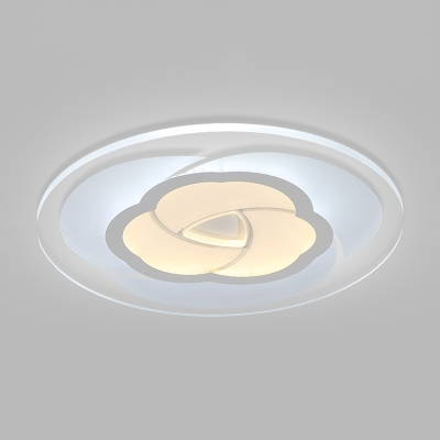 Contemporary Floral LED Flush Light with Round Disc Shade Acrylic Ceiling Lamp in Warm/White